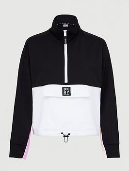 DKNY SPORT Dkny Sport Colour Block Half Zip Sweatshirt - Black/Pink Picture