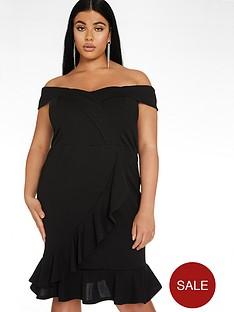 quiz-curve-bardot-frill-midi-dress-black