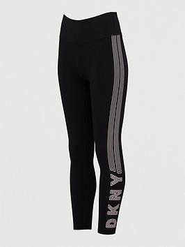 DKNY SPORT Dkny Sport Track Logo High Waist Leggings - Black Picture