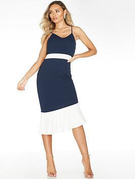 Quiz Quiz Scuba Crepe Contrast Asymmetric Frill Midi Dress - Navy/Cream Picture