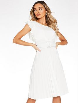 Quiz Quiz Quiz Frill Front Pleated Midi Dress - Cream Picture