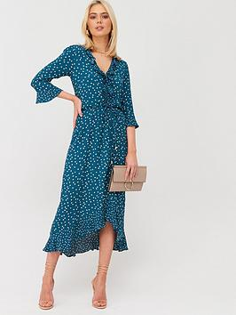 Oasis Patched Spot Ruffle V Neck Midi Dress - Teal Green