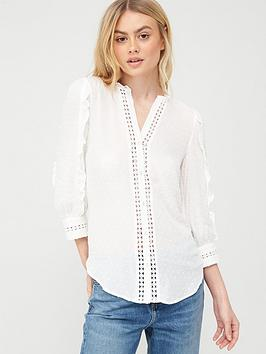 Oasis Oasis Lace Trim Viscose Dobby Ruffle Sleeve Shirt - White Picture