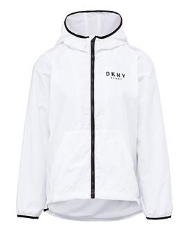 DKNY SPORT  Dkny Sport Logo Hooded Windbreaker Jacket - White