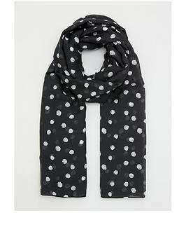 v-by-very-polka-dot-print-scarf-black-white