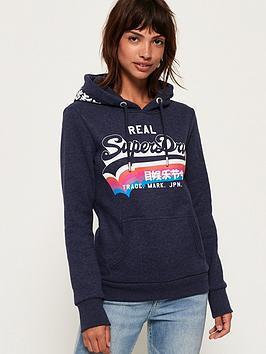 Superdry Vintage Logo Rainbow Shadow Hoodie - Blue