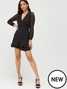 boohoo-boohoo-ruffle-hem-mesh-spot-sleeve-mini-dress-black