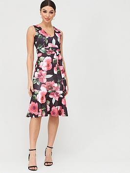 Boohoo Boohoo Boohoo Floral Drop Hem Midi Dress - Black Floral Picture