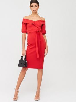 Boohoo Boohoo Boohoo On The Shoulder Tie Waist Midi Dress - Red Picture