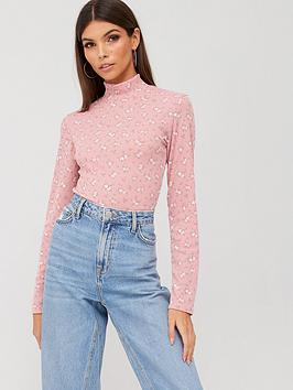 Boohoo Boohoo Boohoo Ditsy Print Turtle Neck Top - Pink Picture