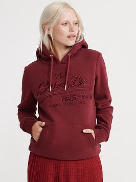 Superdry Superdry Vintage Logo Premium Embroidered Hoodie - Red Picture