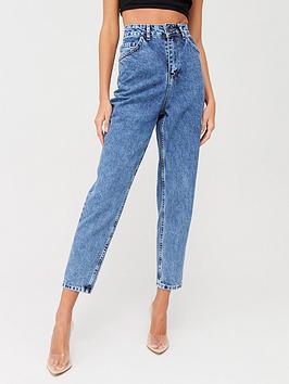 Boohoo    Acid Wash Mom Jeans - Blue