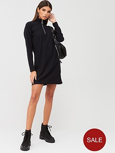 boohoo-boohoo-funnel-neck-ribbed-sweat-dress-black