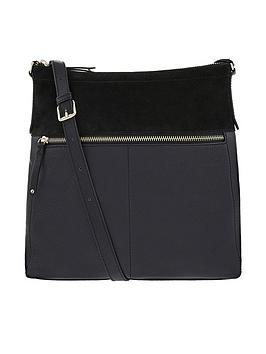 Accessorize Accessorize Leather Large Messenger Bag - Black Picture
