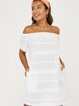 Accessorize   Schiffli Off Shoulder Dress - White