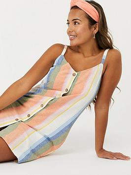 Accessorize   Wide Strap Pocket Striped Dress - Multi