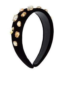 Accessorize Accessorize Gold Jewelled Alice Band - Black Picture
