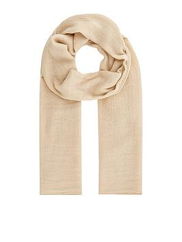Accessorize   All Over Metallic Scarf - Cream