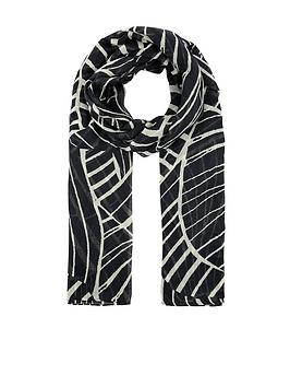 Accessorize   Linear Abstract Print Scarf - Black