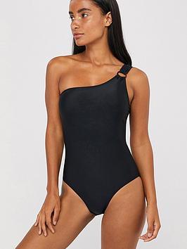 Accessorize Accessorize One Shoulder Swimsuit - Black Picture