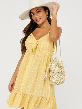 Accessorize   Tie Front Stripe Short Dress - Yellow