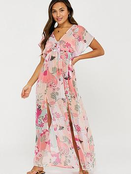 Accessorize   Ladylike Print Chiffon Maxi Dress- Multi