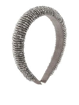 Accessorize   Glistening Beaded Alice Band - Grey