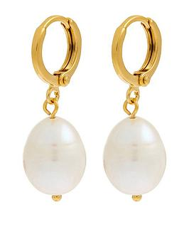 Accessorize Accessorize Z Irregular Pearl Drop Huggie Earrings - Nude Picture
