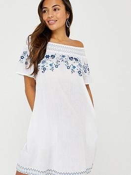 Accessorize   Kaylee Off Shoulder Embroidered Dress - White