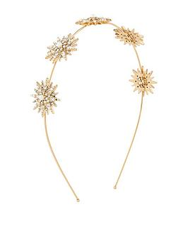 Accessorize Accessorize Starburst Pearl And Crystal Alice Band - Gold Picture