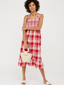 Accessorize   Wide Strap Smocked Gingham Dress - Red
