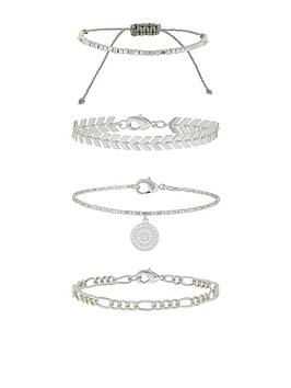 Accessorize   4 X Detailed Chains Friendship Set - Silver