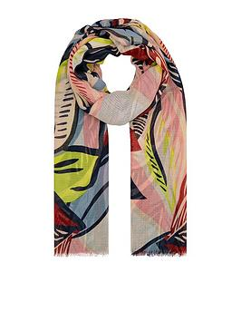 Accessorize   Abstract Leaf Print Scarf - Multi