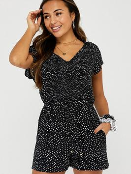 Accessorize   Polka Dot Playsuit - Black
