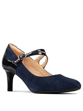 Clarks Clarks Dancer Reece Mary Jane Heeled Shoe - Navy Picture