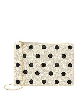 Accessorize Accessorize Polka Dot Zip Top Clutch - White Picture