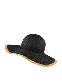 Accessorize   Contrast Edge Plain Floppy Hat - Black