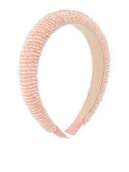 Accessorize Accessorize Pretty Pink Beaded Alice Band - Pink Picture