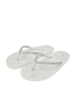 Accessorize   Embellished Flip Flops - Silver