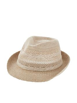 Accessorize   Chevron Packable Trilby - Natural
