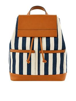 Accessorize Accessorize Woven Stripe Canvas Backpack - Navy Picture