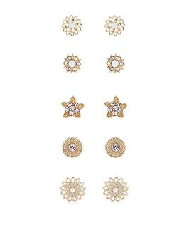 Accessorize  5 Pack Feminine Chic Stud Earrings - Pink