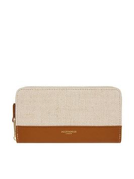 Accessorize Accessorize Linen And Pu Large Zip Around Purse - Tan Picture