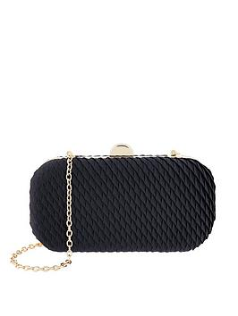 Accessorize   Bella Pleated Hard Case Clutch - Navy