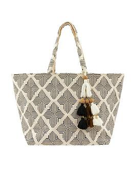 Accessorize   Geo Woven Beach Tote - Black