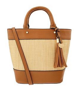 Accessorize Accessorize Raffia Stripe Handheld Bag - Tan Picture