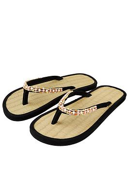 Accessorize   Multi Beaded Seagrass Sandals - Black