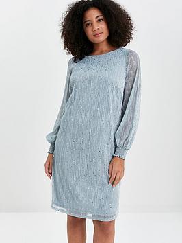 Evans Evans Sparkle Shirred Cuff Dress - Blue Picture