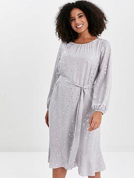 Evans Evans Silver Foil Frill Sleeve Overlay Dress - Grey Picture