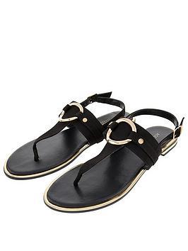 Accessorize Ring Detail Sandals - Black